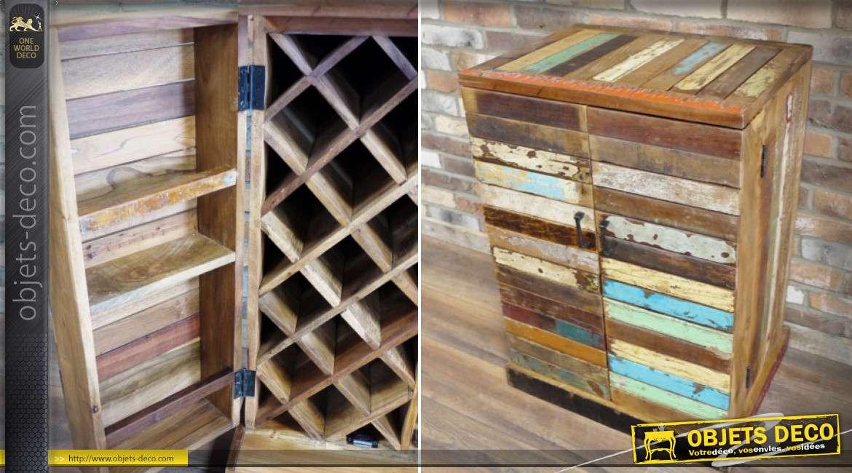 Meuble cave en bois massif recyclé avec casier à bouteilles style rustique 88 cm
