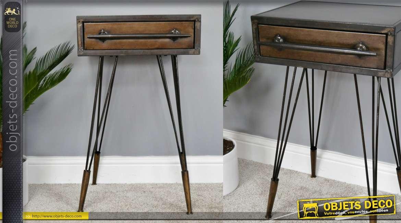 Table de chevet ou meuble d'appoint en métal finition brut et bronze, 1 tiroir, 69cm