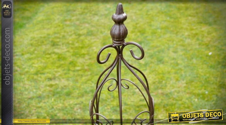 Set de 3 obélisques de jardin métal finition fer forgé noir 114 cm