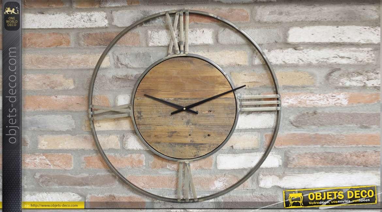 Horloge en bois et métal de style industriel, chiffres aux points cardinaux 70cm