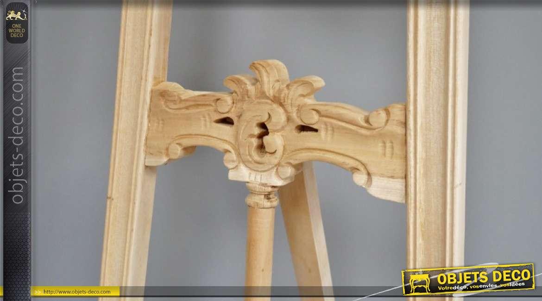Chevalet en bois, essence d'acajou, sculpté finition brut, à patiner soi même, grand modèle
