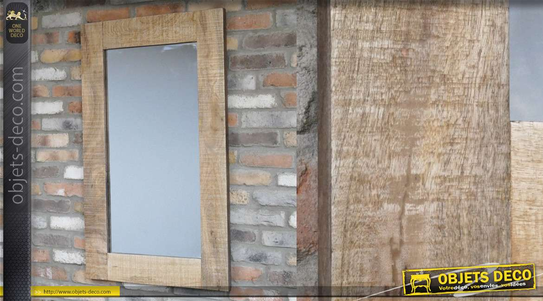 Grand miroir rectangulaire de style rustique, encadrement en bois finition brut 110cm