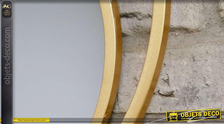 Miroir rond en métal, encadrement style moderne épuré, finition doré effet brossé 48cm