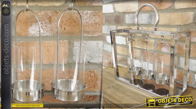 Lanterne en métal finition chromé avec verres à bougies suspendus, 44cm