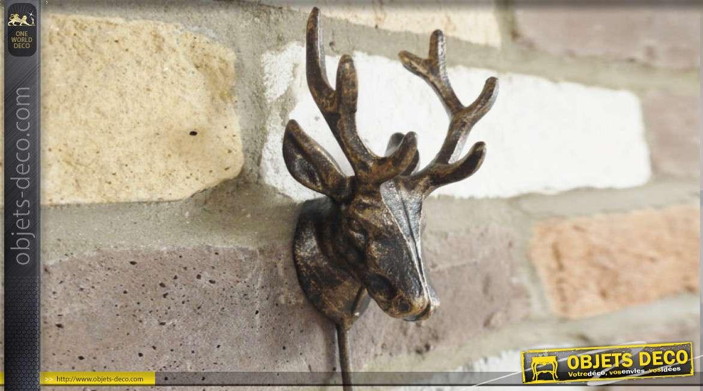 Crochet mural en métal fintion bronze, trophée de renne 25cm