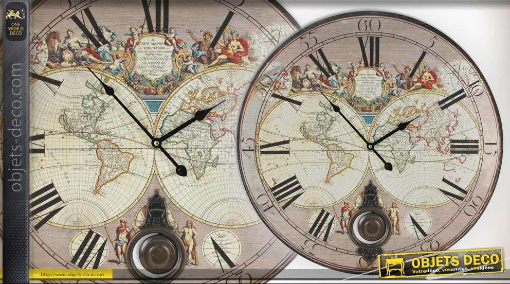 Mappemonde Deco Murale horloge déco murale mappemonde vintage