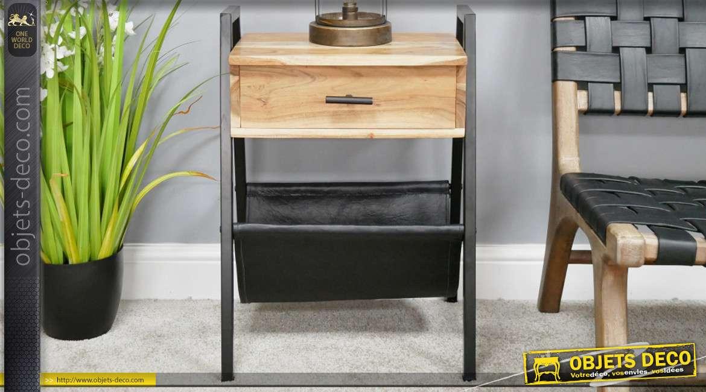 Meuble d'appoint en métal, bois finition naturel et partie en cuir pour les magazines 63cm