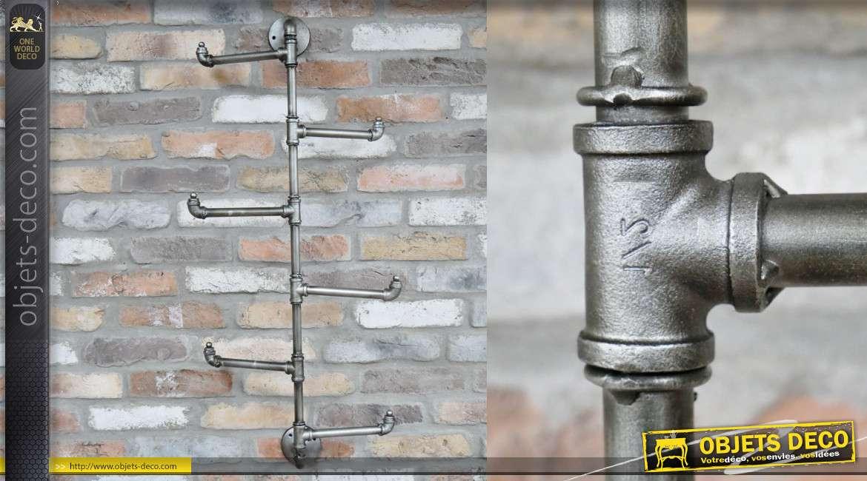 Porte manteau mural en métal de style industriel façon ancienne plomberie 100cm