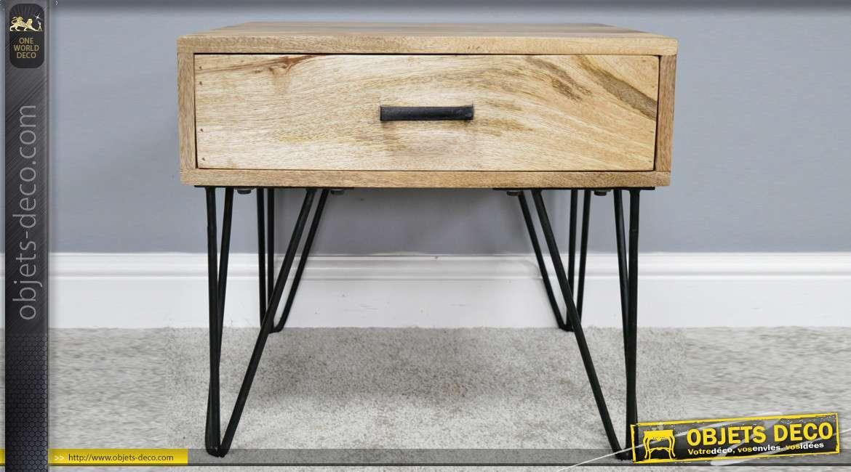 Meuble d'appoint en bois massif finition naturel et pieds en métal noir, style moderne 47cm