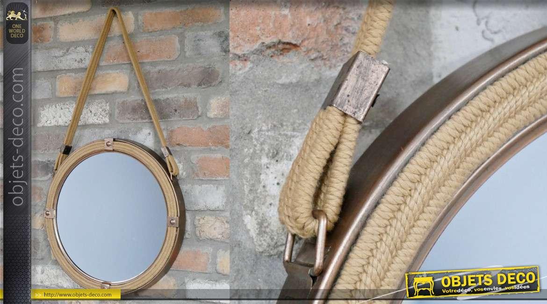 Miroir rond en métal et corde finition aspect bronze brossé, thème bord de mer 40cm