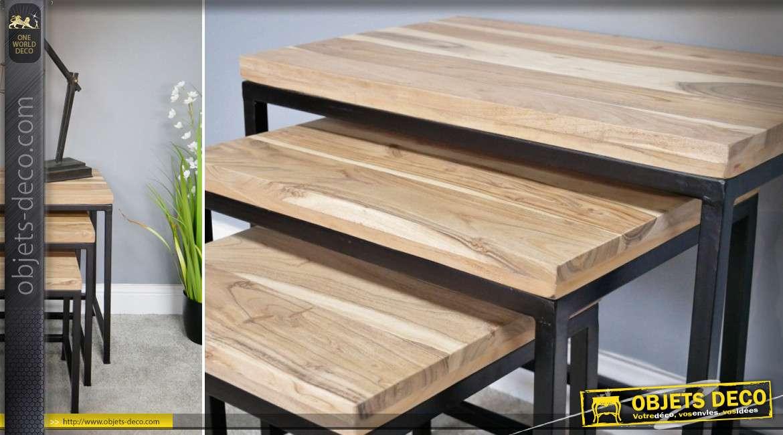 Série de 3 tables gigognes de style industriel en bois naturel et métal noir 61 cm