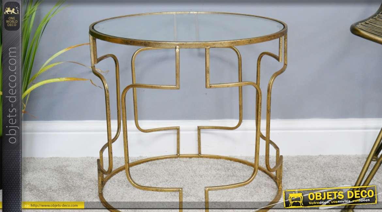 Table d'appoint ronde, en métal finition doré et plateau en verre style moderne 50cm