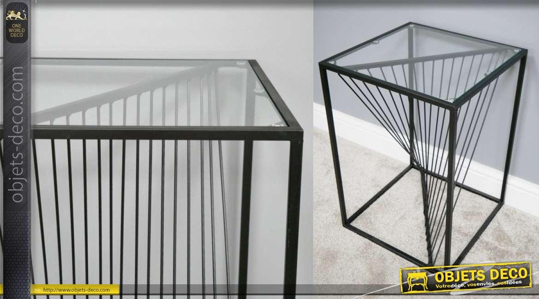Table d'appoint carrée en métal noir avec effet d'optique central, plateau en verre