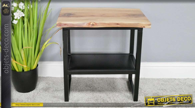 Table auxiliaire de style moderne, base en métal et plateau en acacia massif, 51cm