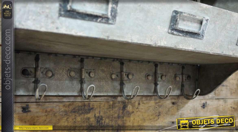 Unité de stockage murale en métal et bois, de style industriel, 5 crochets de suspension