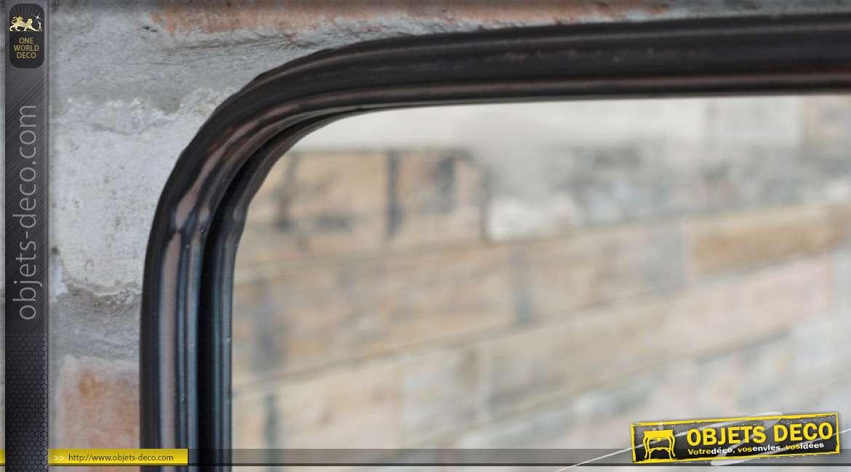Miroir en métal noir, tablette avec chainettes, style industriel de 70cm