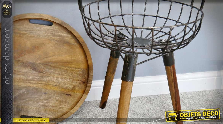 Table d'appoint avec panier sur trépied en bois et métal 65 cm