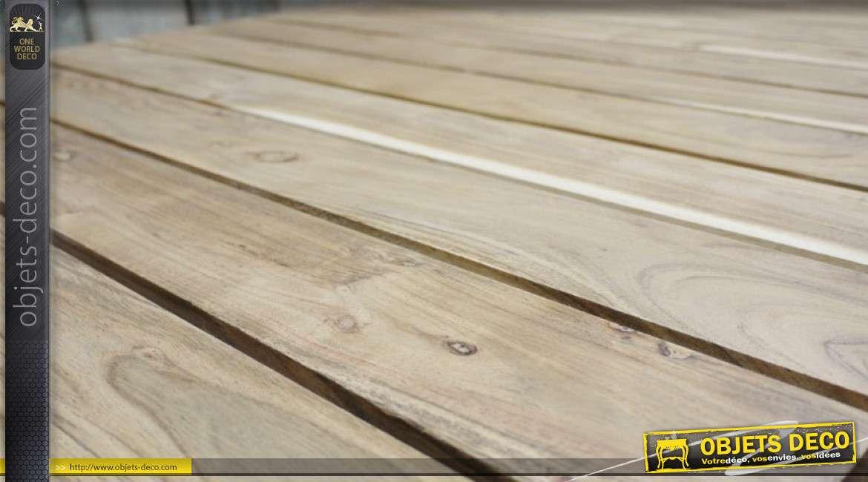 Table de jardin en bois d'acacia massif, finition naturel richement veiné 180cm