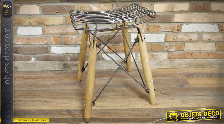 Tabouret design industriel rétro en bois et métal 53 cm