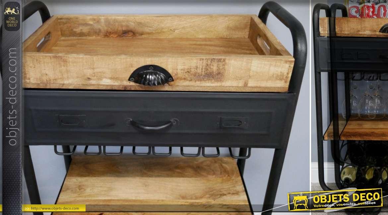Meuble bar trolley en bois et métal de style industriel 95 cm