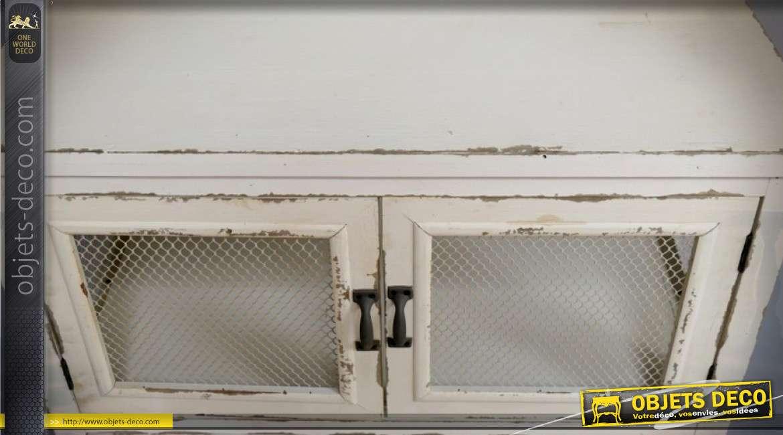 Buffet rustique patine crème avec 4 portes à façades grillagées 107 cm