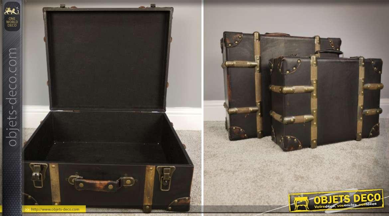 Série de 2 valises décoratives anciennes en bois et laiton doré 49 cm