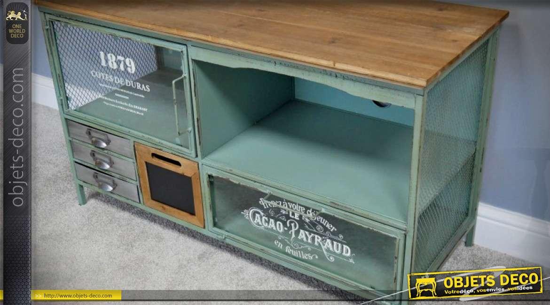 Meuble TV de style rétro et industriel en bois et métal 106 cm