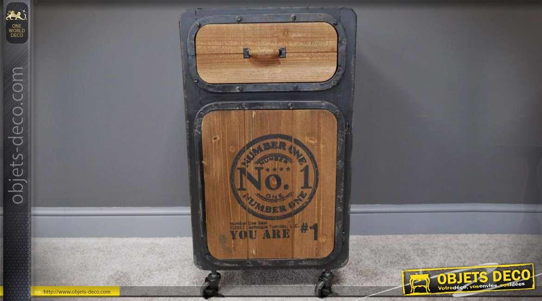 Table de chevet indus en bois et métal 1 tiroir et 1 porte 76 cm