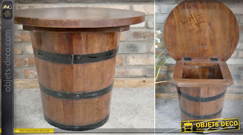 Table basse ronde en forme d'ancien tonneau de chai Ø 61 cm