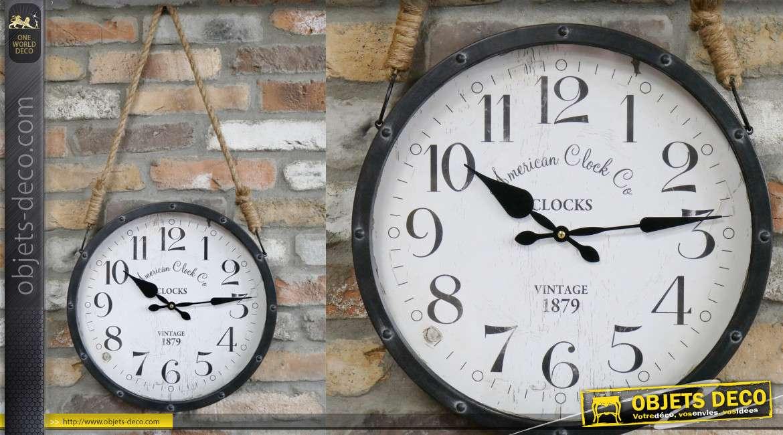 Horloge murale en métal, American clock avec corde de suspension, style rustico'indus