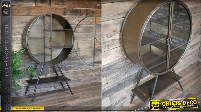 Vitrine vintage circulaire en verre et métal 134cm