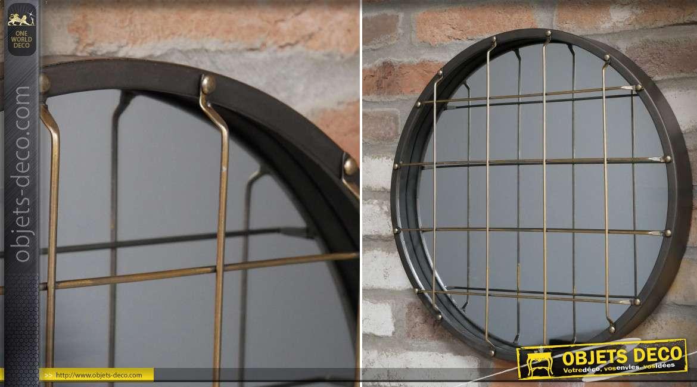 Miroir rond de style industriel avec grille à maillage carré Ø 46 cm