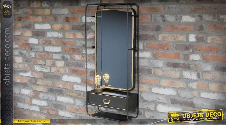 Miroir mural industriel en métal avec console étagère et tiroir 100 cm