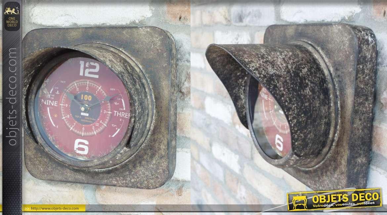 Horloge d'appoint en métal finition oxydée, modèle murale style ancien nanomètre 29cm