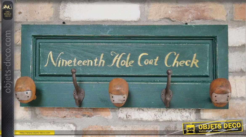 Porte manteau mural sur le thème du golf, patères style anciens club, bois finition vintage