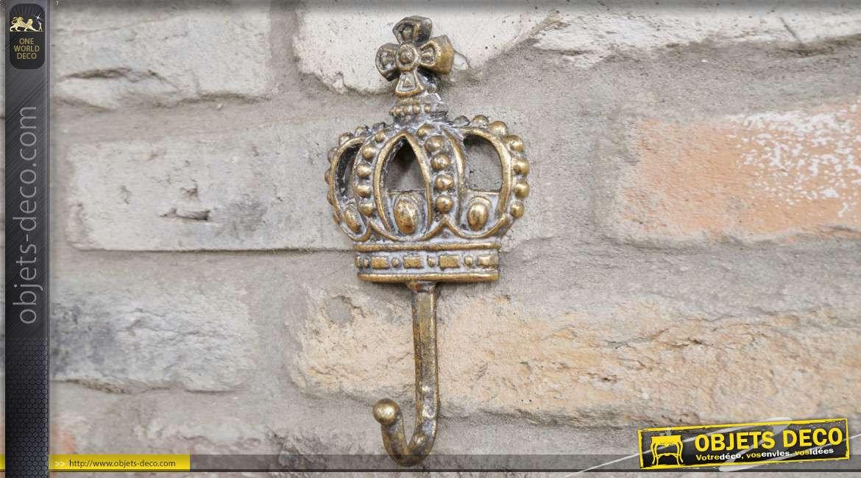 Crochet mural en forme de couronne, fabriqué en métal finition doré ancien, 19cm