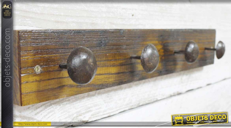 Porte manteau en bois recyclé richement veiné et texturé, 4 patères en métal 48cm