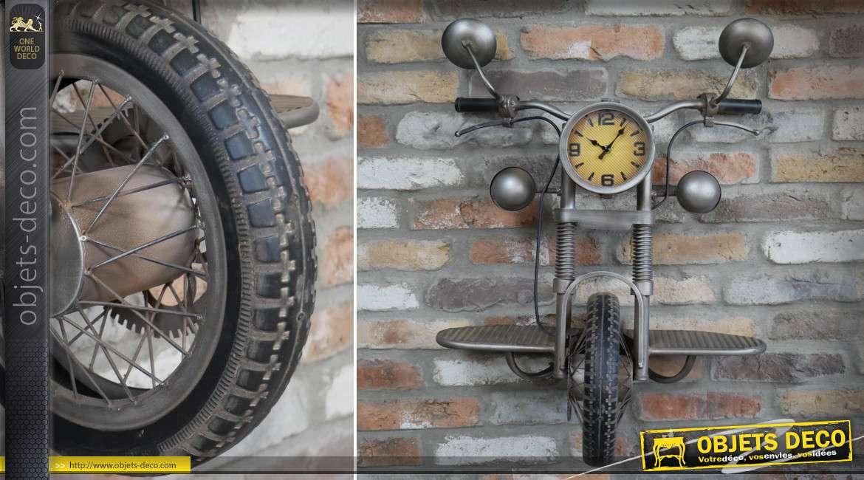 Etagère murale avec horloge moto vintage en métal coloris gris 80 cm
