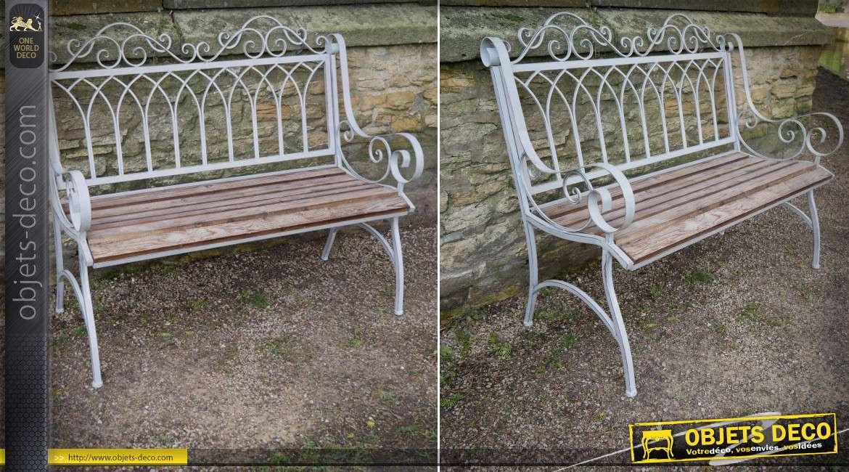 Banc de jardin en bois et en métal style rétro coloris gris clair 114 cm