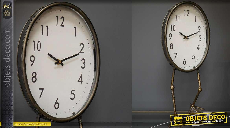Horloge de table ovale originale sur pattes d'oiseaux échassiers 53 cm