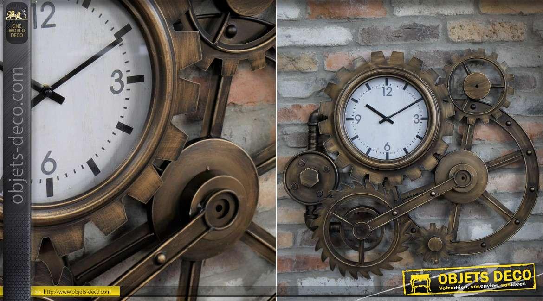 Horloge murale anciens engrenages industriels métal cuivré 75 cm