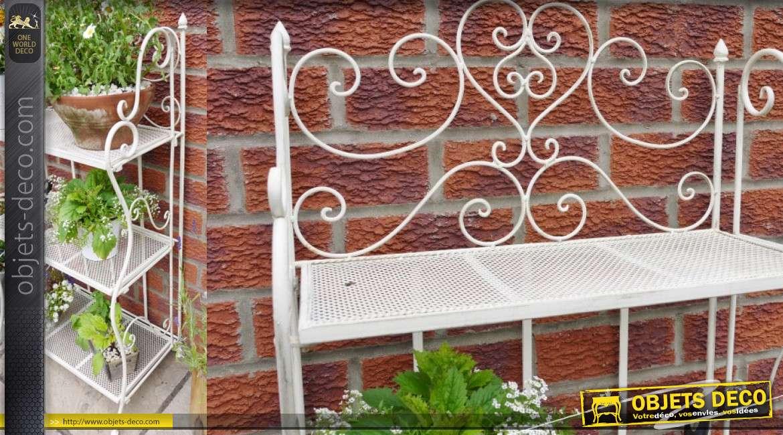 Etagère en métal style fer forgé, finition blanc ancien, 3 niveaux de rangement