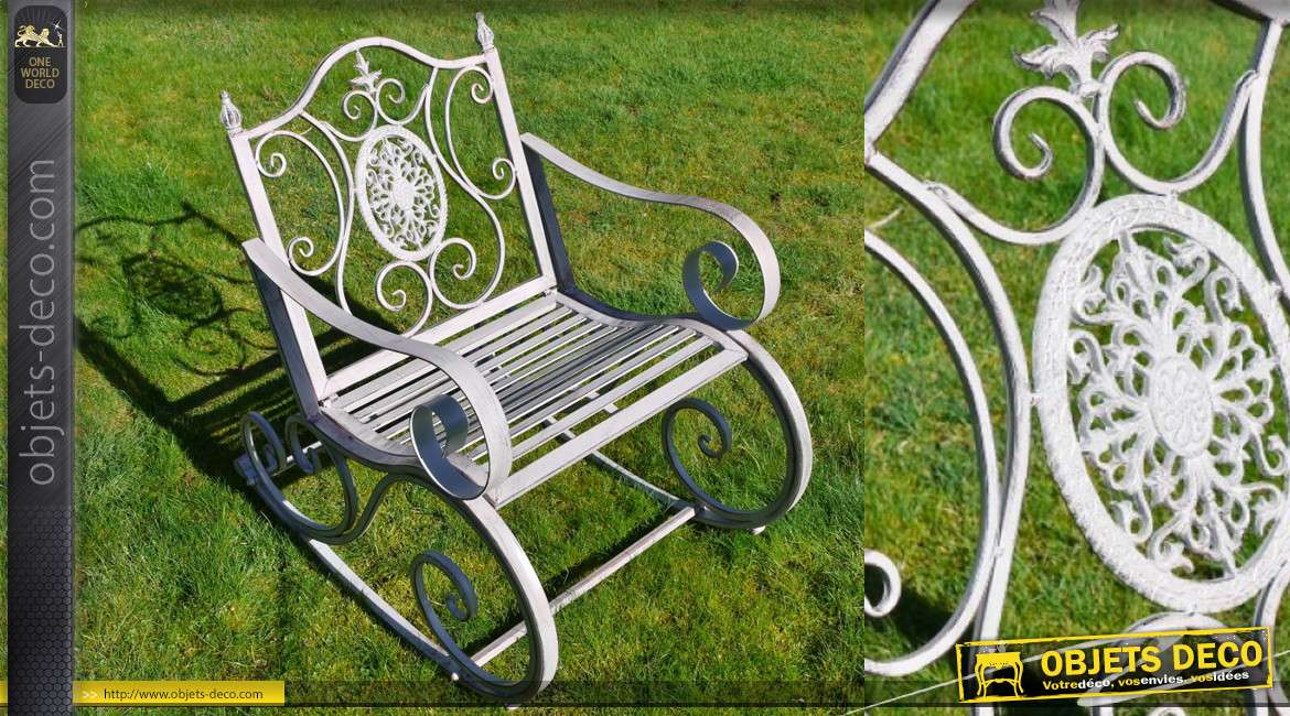 Rocking chair de jardin, en métal finition gris clair antique, 88cm de haut