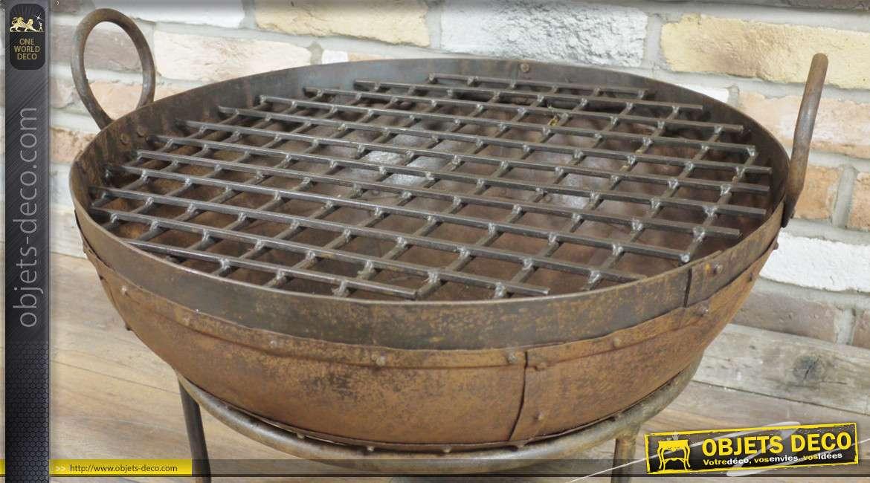 Brasero ou puit de feu, pour jardin ou terrasse de style rustique finition oxydée 60cm