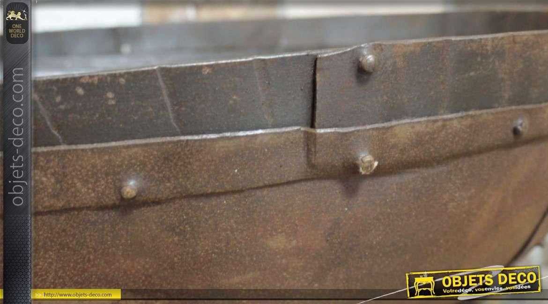 Bol de feu ou brasero, avec poignées et support trépied, grand modèle en acier oxydé