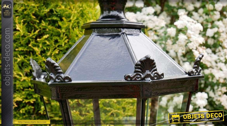 Lampadaire d'extérieur en fonte d'aluminium style Londres 1900, finition noir brillant