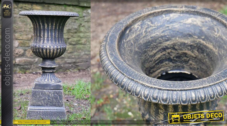 Vase style Médicis et base, en fonte finition noir et bronze ancien, 28cm de diamètre