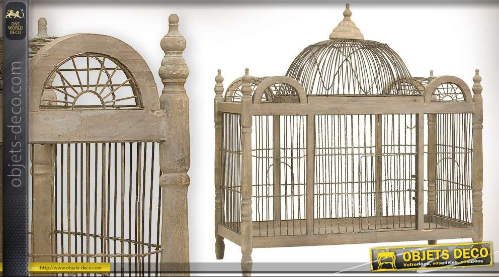 grande cage oiseaux d corative bois et m tal. Black Bedroom Furniture Sets. Home Design Ideas