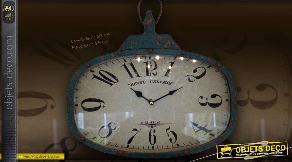 horloge murale style m tal indus sous verre 30 cm. Black Bedroom Furniture Sets. Home Design Ideas