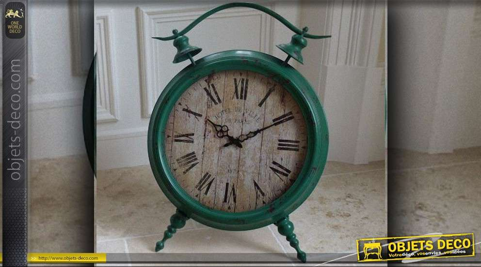 horloge poser style vintage vert antique 69 cm. Black Bedroom Furniture Sets. Home Design Ideas